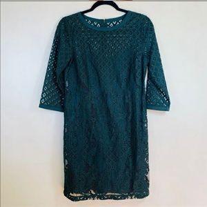 Ann Taylor LOFT green shift dress